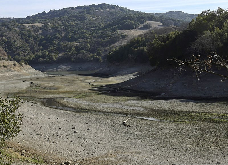 The nearly dry bottom of the Almaden Reservoir is shown near San Jose, California Jan. 21, 2014.